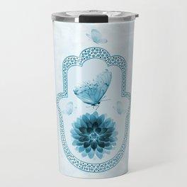 Butterfly Lotus Blue Hamsa Hand Travel Mug