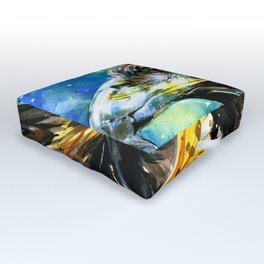 Golden Eagle And Butterfly by Kathy Morton Stanion Outdoor Floor Cushion