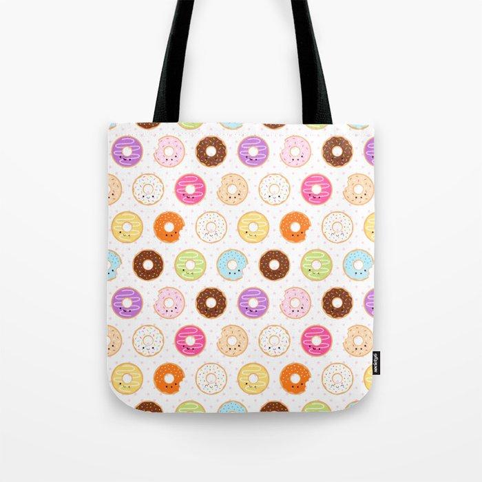Happy Cute Donuts Pattern Tote Bag
