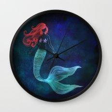 chalk mermaid Wall Clock