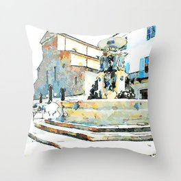 Faenza: fountain and church Throw Pillow