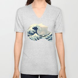 Hokusai Great Wave in My Head Unisex V-Neck