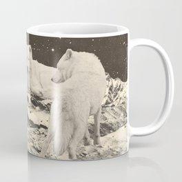 Three Giant White Wolves on Mountains Coffee Mug
