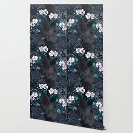 Night Garden Bees Wild Blackberry Wallpaper