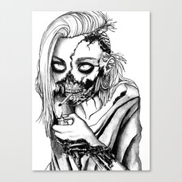Smoking Zombie Canvas Print