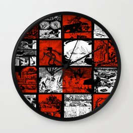 RED & WHITE - A nne Frankenstein Book I - Resurrection Wall Clock