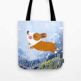 Underwater corgi Tote Bag