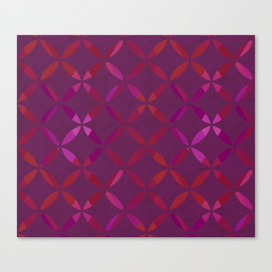Fancy red and pink circle pattern Canvas Print