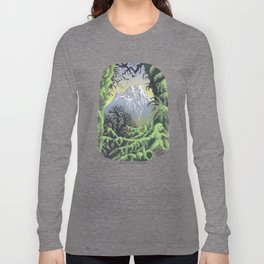 WALK ALONE SPIRIT IN RAIN FOREST AND MOUNTAINS PEN DRAWING Long Sleeve T-shirt