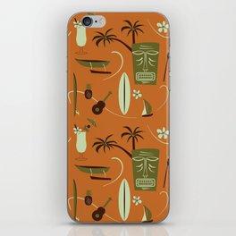 Orange Retro Hawaiian Tiki Hawaii Beach iPhone Skin