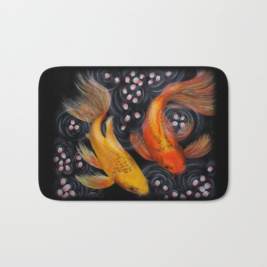Butterfly Koi (Acrylic painting) Bath Mat
