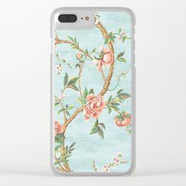 Rose bushes have thorns -Roses Flowers Floral Vintage Retro on Aqua Clear iPhone Case