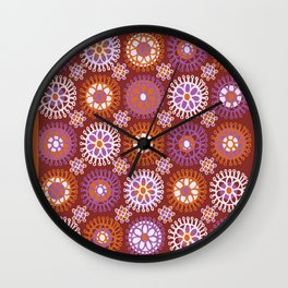 Flower Doodles Russet/Orange, circles and flower pattern Wall Clock