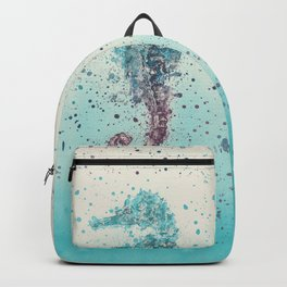 Seahorse marine life turquoise watercolor art Backpack