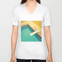pool V-neck T-shirts featuring Pool by Herb Vaine
