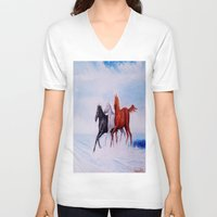 horses V-neck T-shirts featuring horses by shannon's art space