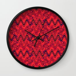 Red Black Geometric Waves Abstract Pattern Wall Clock