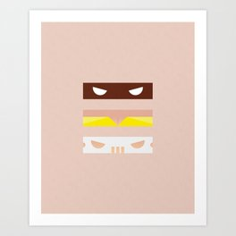 Teenage Minimal Ninja Good Guys Art Print