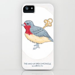 Haruki Murakami's The Wind-Up Bird Chronicle // Illustration of a Bird with a Wind-up Key in Pencil iPhone Case