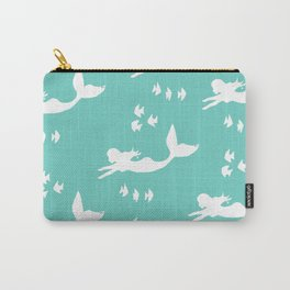 Mermaid Pattern Sea Green Carry-All Pouch