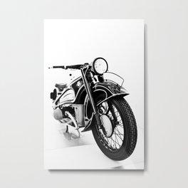 Vintage classic bike, motorcycle art, white background Metal Print