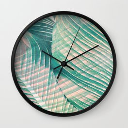 Tropical Colorful Leaves Wall Clock