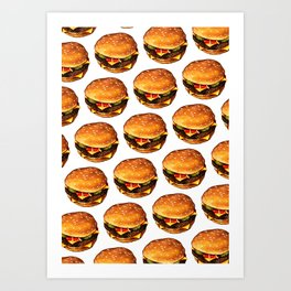 Cheeseburger Pattern 2 Art Print