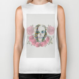 girl and flowers color Biker Tank