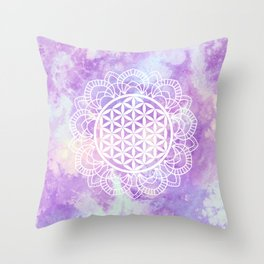 Flower Of Life (Soft Lavenders) Throw Pillow