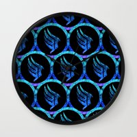 mass effect Wall Clocks featuring Mass Effect Paragon by foreverwars