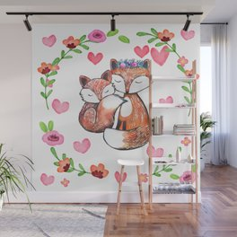 Mama Fox and Baby Wall Mural