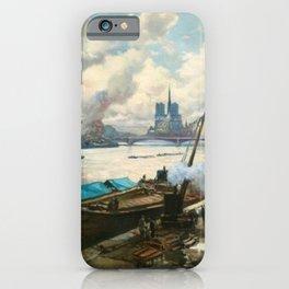 Notre Dame, River Seine, Paris Ile Saint-Louis with River Boats by Henri Alphonse Barnoin iPhone Case