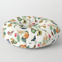 Antique Cream Butterflies Summer Leaves Garden Floor Pillow