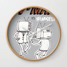 tv man vs himself Wall Clock