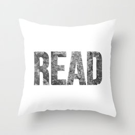 Read Dictionary Page Black Throw Pillow