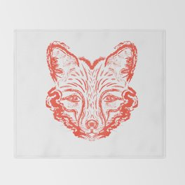 Muzzle foxes. Fox with sideburns, sketch strokes. Throw Blanket