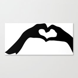 Hearts out of Hands - Silhouette Canvas Print