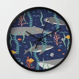 Whales in the Ocean Pattern Wall Clock