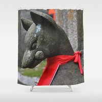 kitsune Shower Curtains featuring Kitsune Fox by Stevyn Llewellyn