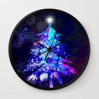 christmas tree Wall Clocks featuring Christmas Tree by tscreative
