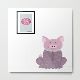 Pig in a Onesie Metal Print