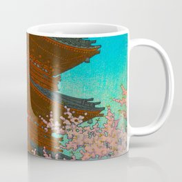 Vintage Japanese Woodblock Print Pastel Colors Blue pink Teal Shinto Shrine Cherry Blossom Tree Coffee Mug