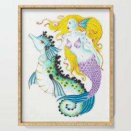 Mermaid And Seahorse Watercolor,Ink Art Serving Tray
