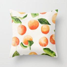 Satsumas Watercolor Painting Throw Pillow