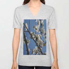 Cherry Blossom Branches Against Blue Sky Unisex V-Neck