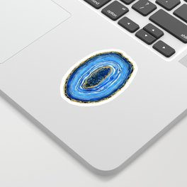 Cobalt blue and gold geode in watercolor Sticker
