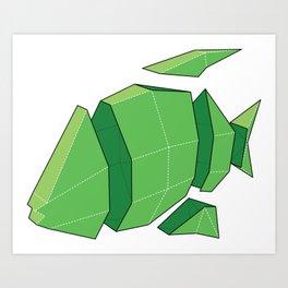 Illustration of a 3D Paper Craft Fish Model Art Print