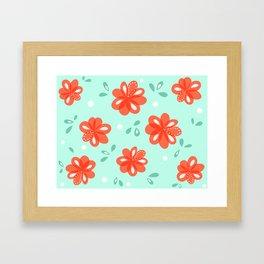 Cheerful Red Flowers Pattern Framed Art Print