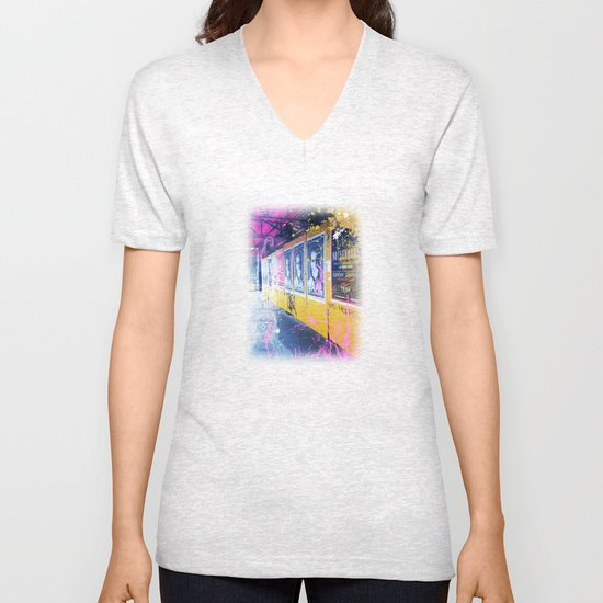 purple and yellow _  little burke graffiti Unisex V-Neck