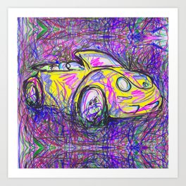 Expressive Bright Yellow V W Beetle created under the influence of Caffine by annmariescreations Art Print